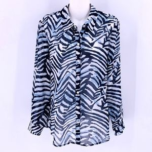 CHICO'S Navy Tiger Stripe Sheer Shirt 0/XS Top